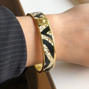 Coach Gold Tone Zebra Stripe Bangle Bracelet
